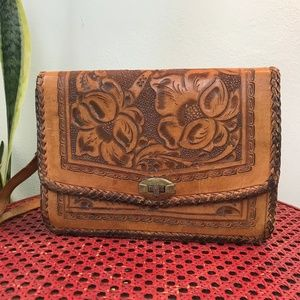 Vintage Tooled Leather Shoulder Bag with Mirror